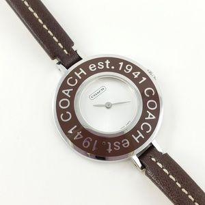 Coach Watch Brown Leather Strap Silver Tone